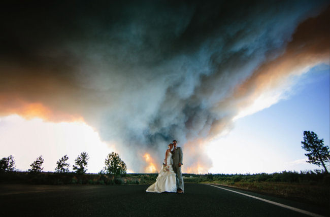 A real time fire in wedding couples portrait background